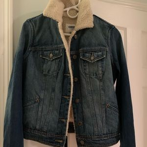 Old navy blue jean jacket Sherpa